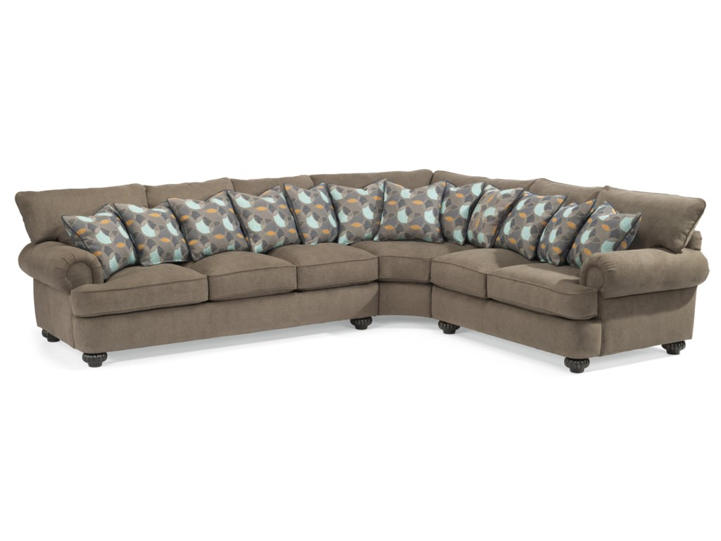 Flexsteel Patterson Three Piece Sectional Sofa with Rolled Arms ...