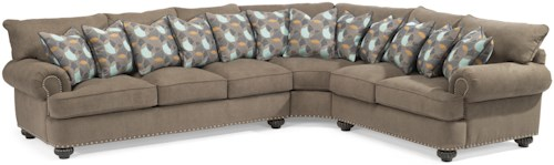 Flexsteel Patterson  Three Piece Sectional Sofa with Rolled Arms and Nailheads