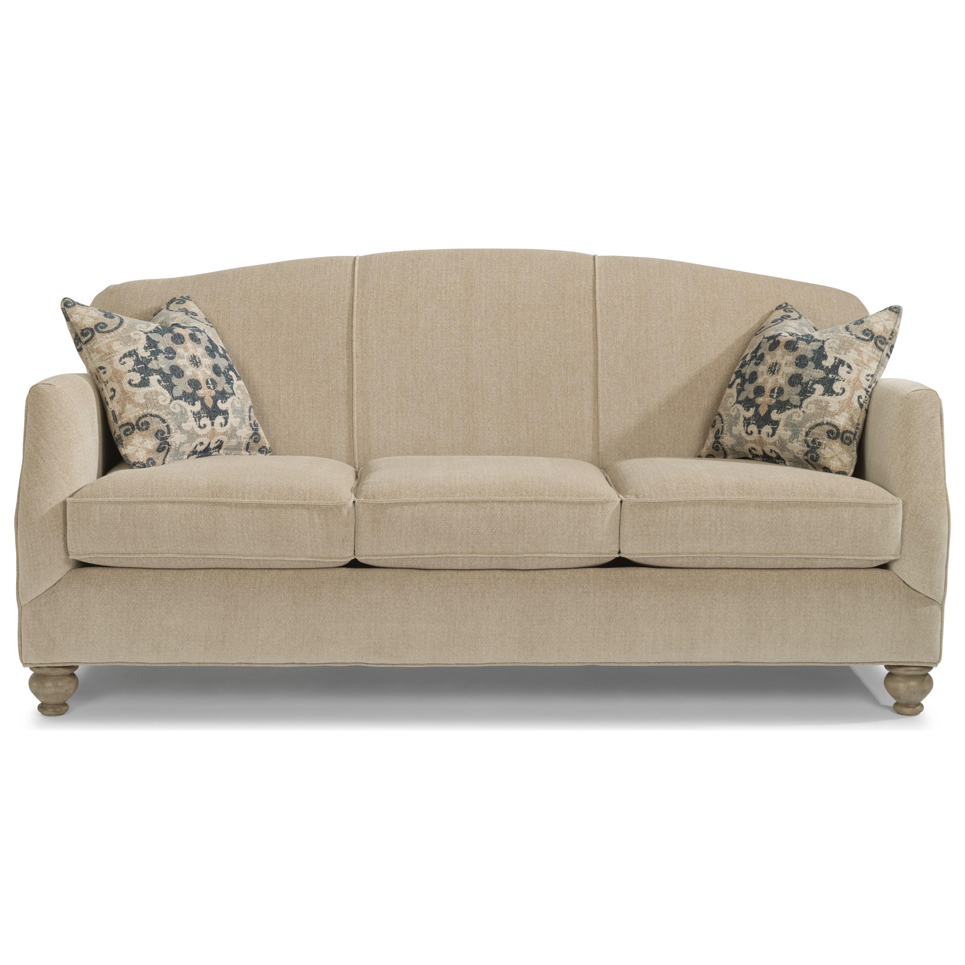 Flexsteel Plymouth Transitional Sofa With Bun Feet
