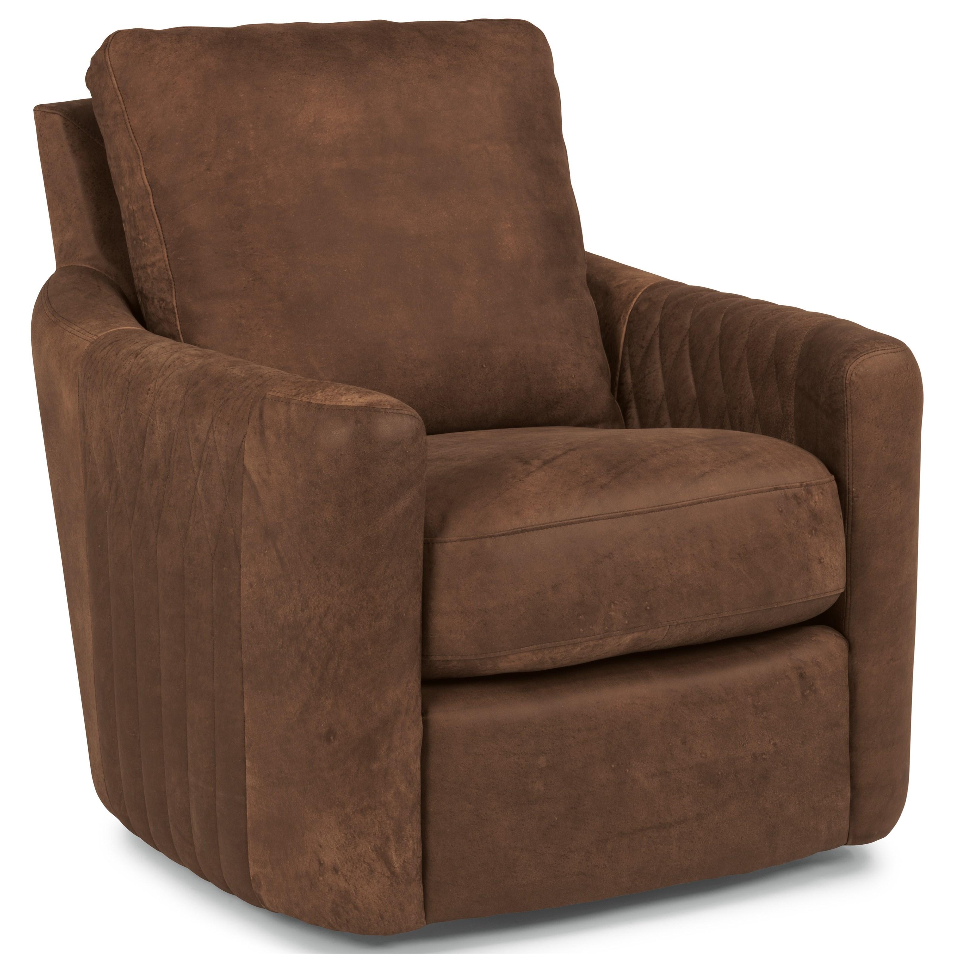 Gentil Flexsteel Latitudes PoppyLeather Swivel Chair