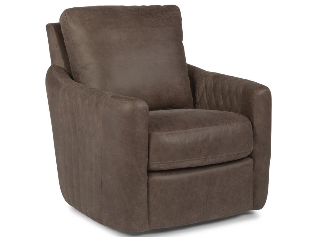 Flexsteel Latitudes-PoppyLeather Swivel Chair