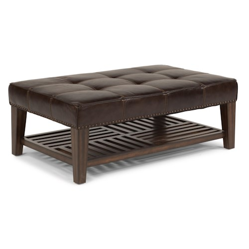 Flexsteel Latitudes - Port Royal Upholstered Cocktail Ottoman with Wood Shelf and Nailhead Trim