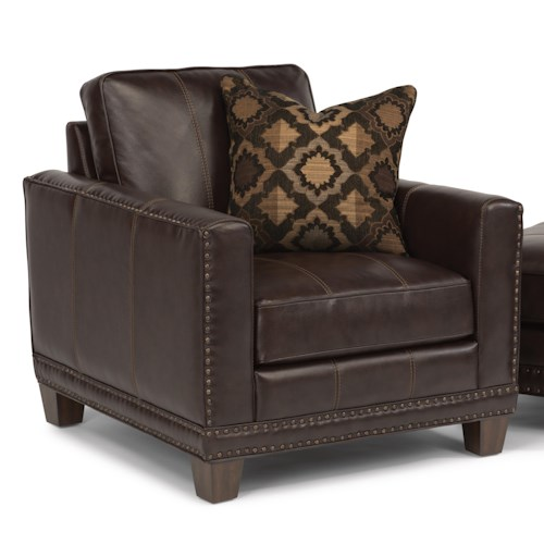 Flexsteel Latitudes - Port Royal Transitional Chair with Nailhead Border and Wood Legs