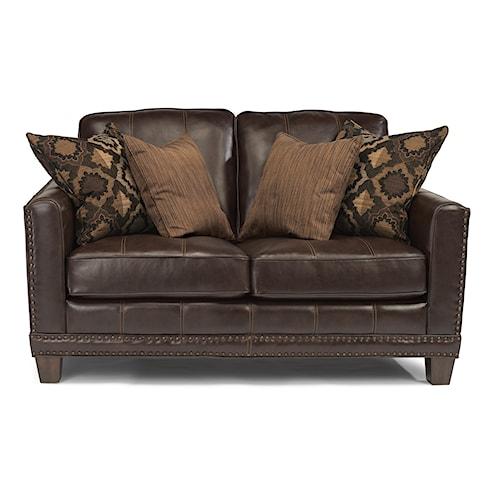 Flexsteel Latitudes - Port Royal Transitional Love Seat with Nailhead Border and Wood Feet
