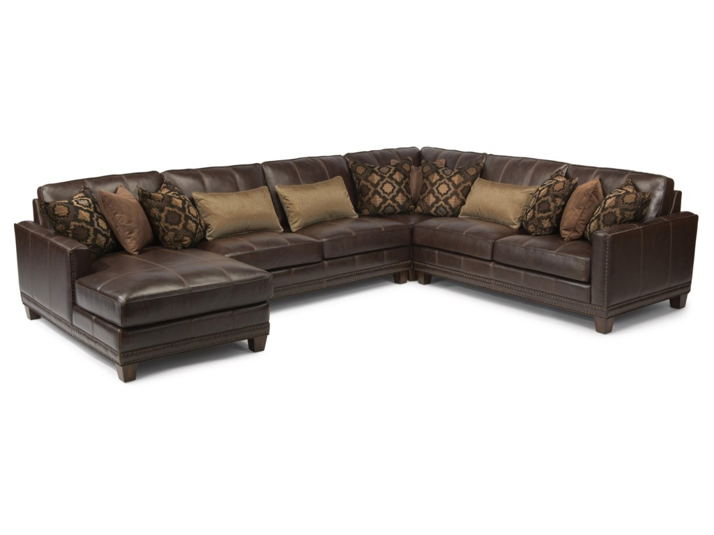 Laudes Port Royal Transitional Four Piece Sectional Sofa With Laf Chaise By Flexsteel