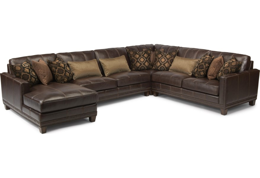 Latitudes - Port Royal Transitional Four Piece Sectional Sofa with LAF  Chaise by Flexsteel at Dunk & Bright Furniture