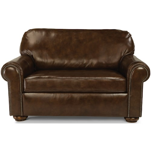 Flexsteel Preston Traditional Twin Sleeper Sofa With Nailhead Trim
