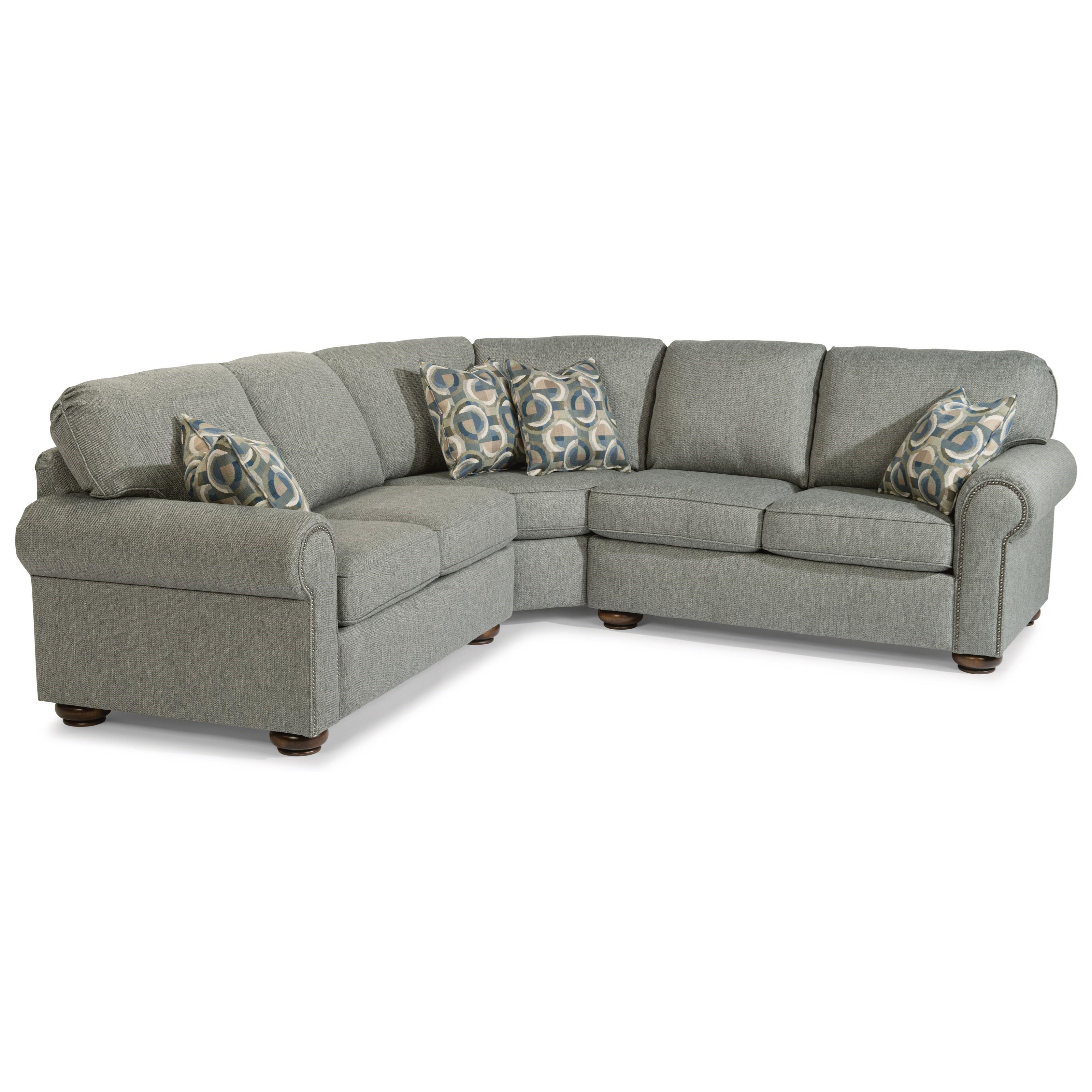 flexsteel preston traditional 4 seat sectional sofa with nailhead rh dunkandbright com blue sectional sofa nailhead trim