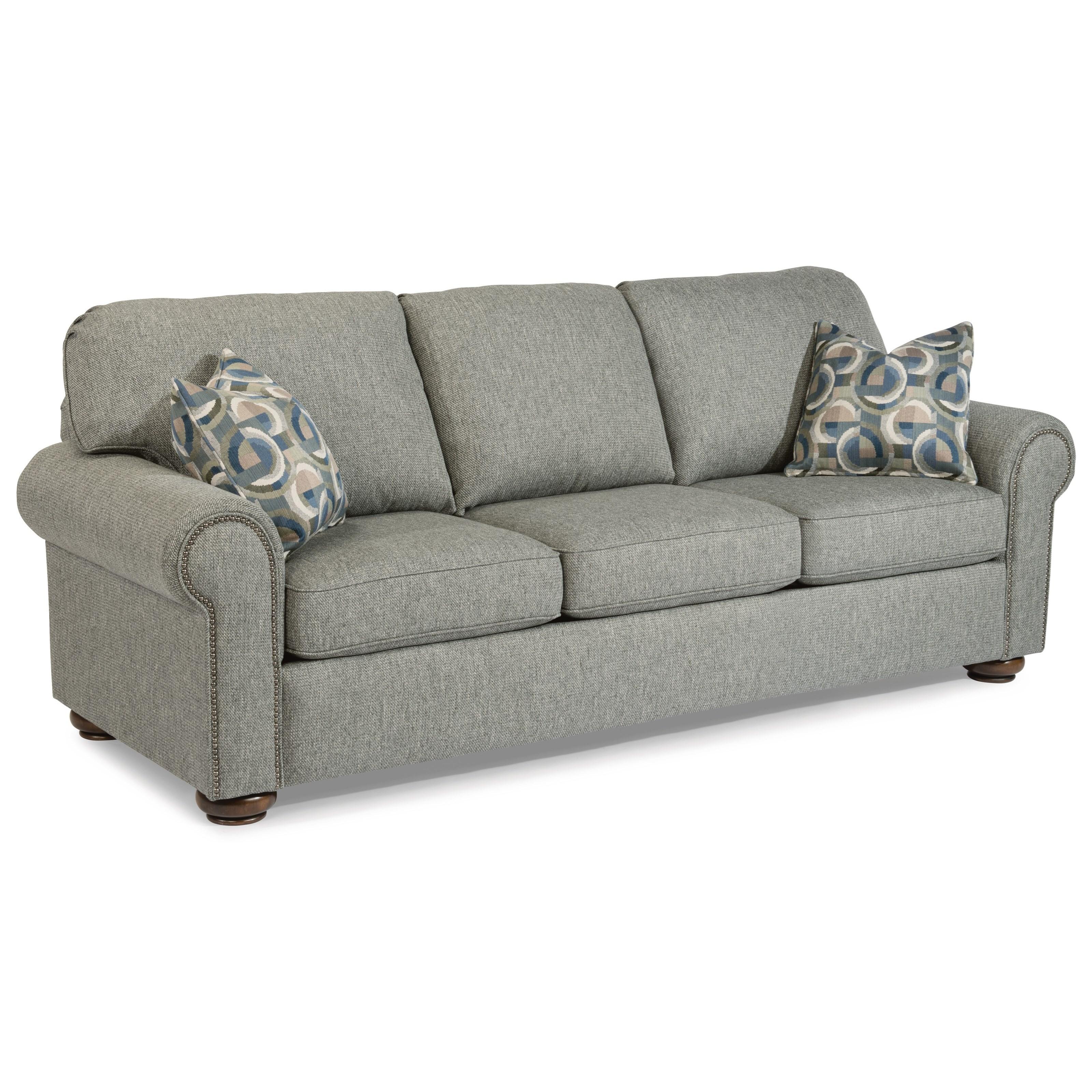 Flexsteel Preston Traditional Queen Sleeper Sofa With Nailhead Trim