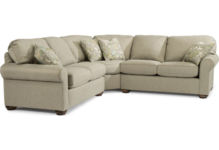 Flexsteel Preston 5538 27 23 28 292 01 Traditional 4 Seat Sectional Sofa Coconis Furniture Mattress 1st Sectional Sofas