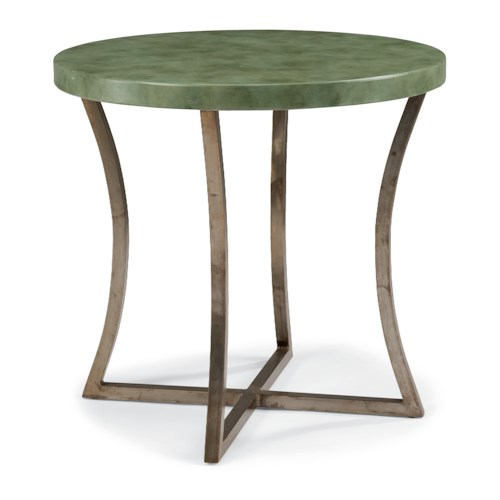 Flexsteel Raku Pottery-Inspired Lamp Table with Painted Concrete Top