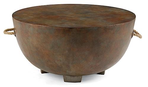 Flexsteel Raku Pottery-Inspired Painted Concrete Cocktail Table