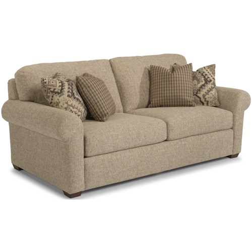 Flexsteel Randall Transitional Two Cushion Sofa With Rolled Arms
