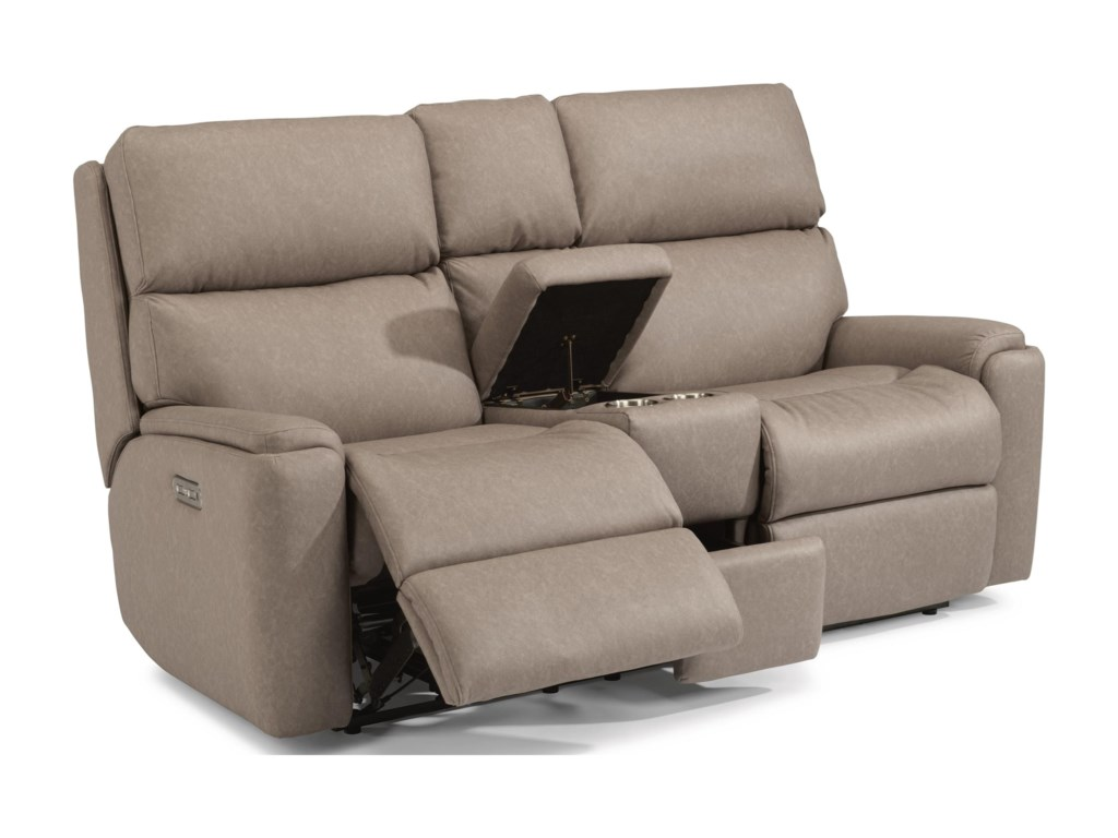 Flexsteel RioPower Reclining Loveseat with Console and PH
