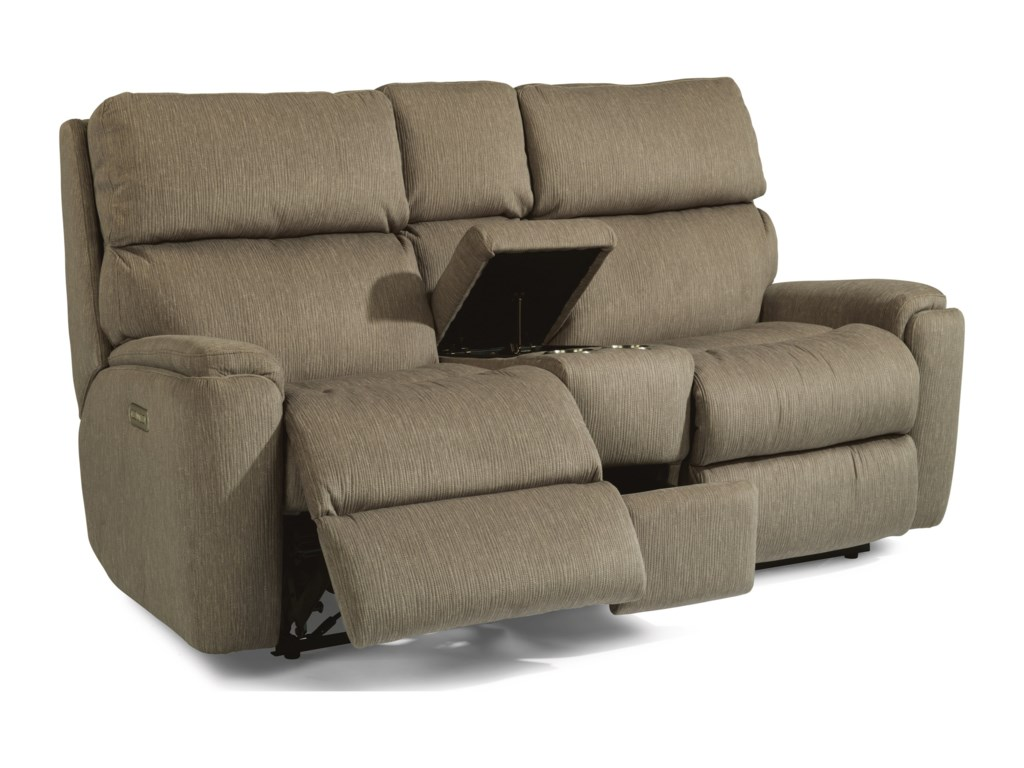 Flexsteel RioPower Reclining Loveseat with Console