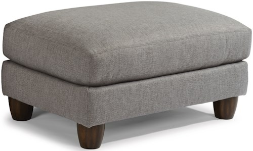 Flexsteel Sasha 7940 Contemporary Ottoman with Rounded Wooden Legs