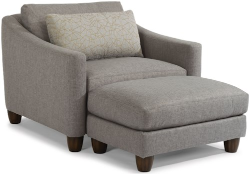 Flexsteel Sasha 7940 Contemporary Chair & a Half and Ottoman Set with Rounded Feet