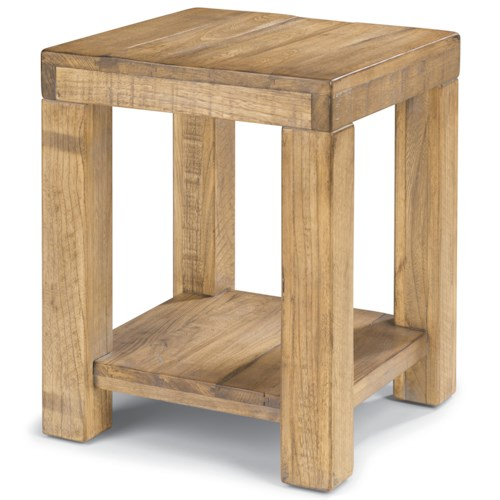 Flexsteel Sawyer Chair Side Table with Block Legs
