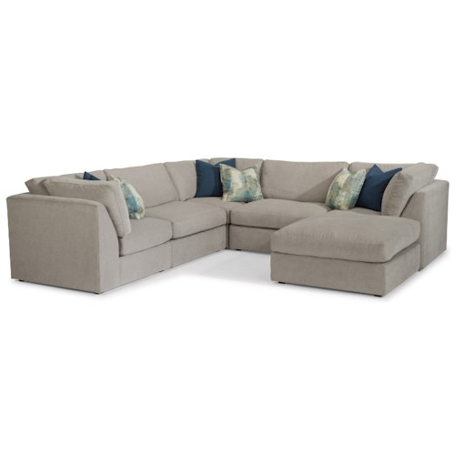 Flexsteel Selina Contemporary 4 Seat Sectional