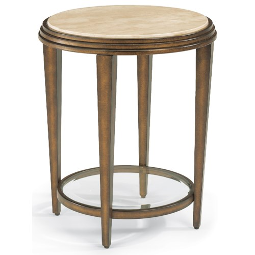 Flexsteel Seville Metal Chair Side Table with Marble Top