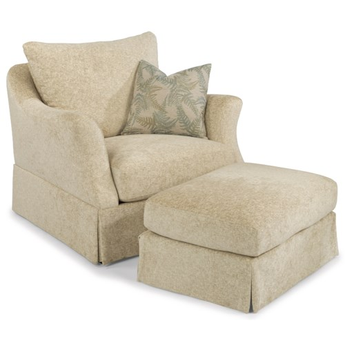 Flexsteel Sonia Transitional Chair and Ottoman Set with Skirted Base
