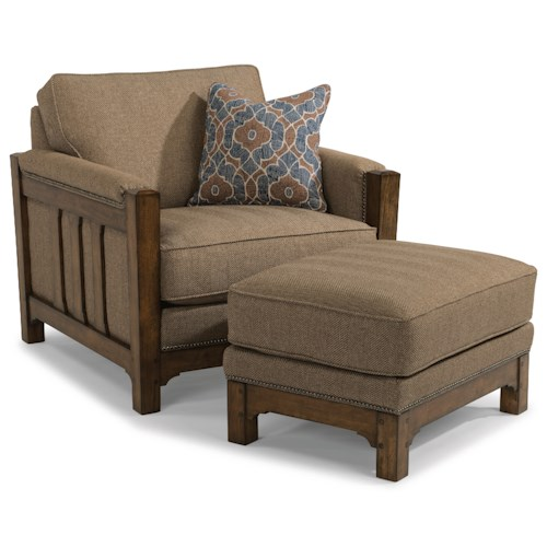 Flexsteel Sonora Mission Chair and Ottoman Set with Nailhead Trim