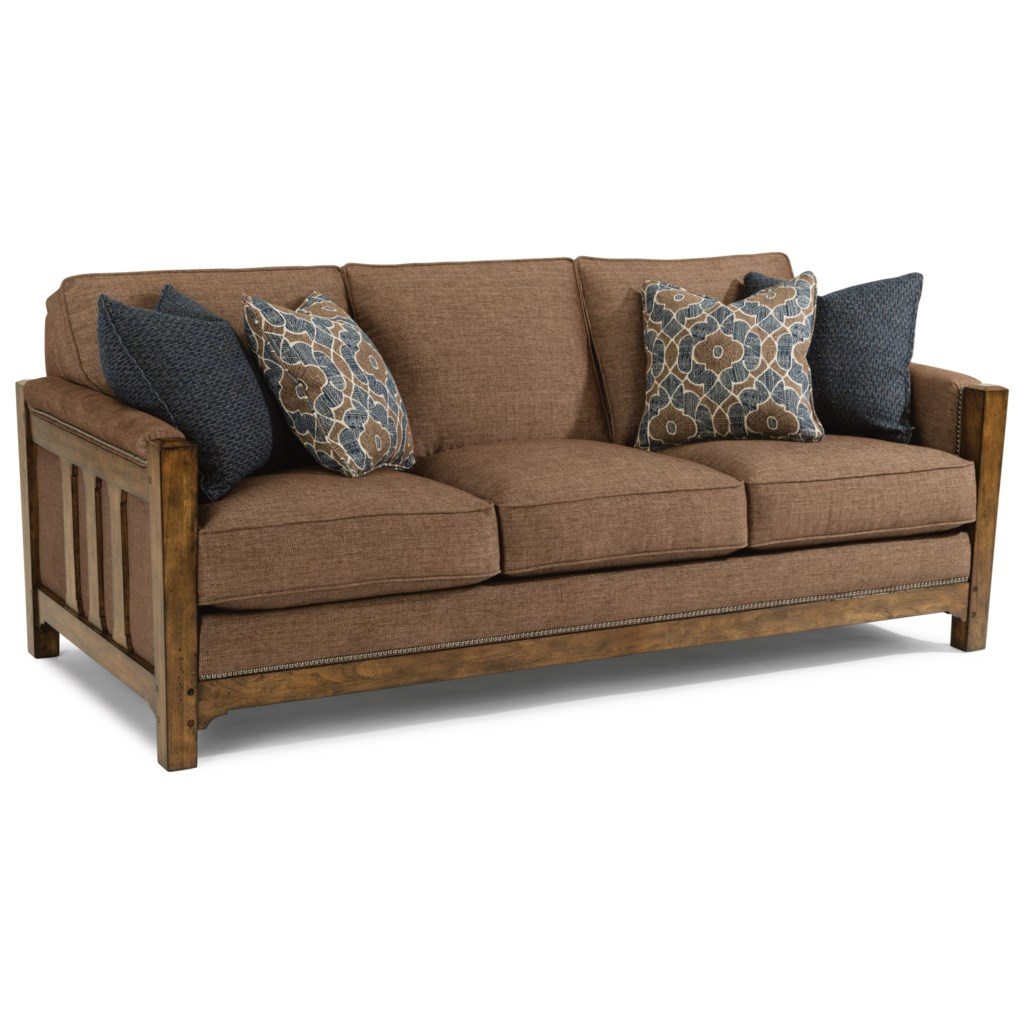 Flexsteel Sonora Mission Sofa with Nailhead Trim Dunk & Bright