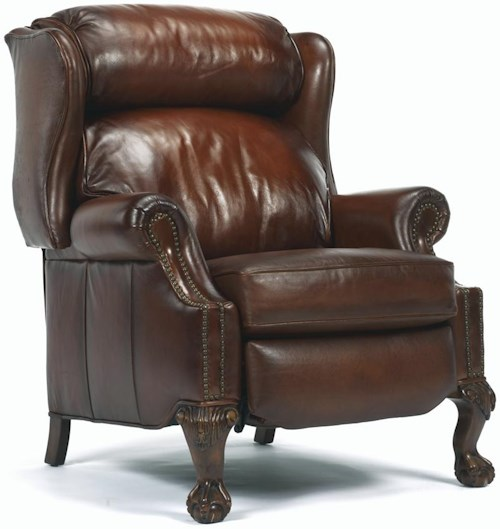Flexsteel Latitudes - St. Albert Traditional High Leg Recliner with Nailhead Trim and Paw Feet