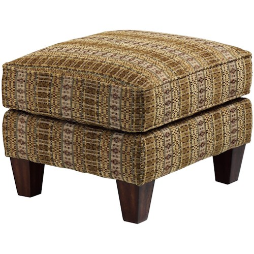 Flexsteel Stafford Classic Styled Footrest Ottoman with Wooden Feet
