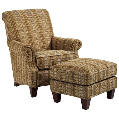Flexsteel Stafford Traditional Styled Chair and Ottoman Set for Classic Sophistication