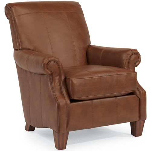 Flexsteel Stafford Traditional Styled Accent Chair with Rolled Arms and Wood Feet