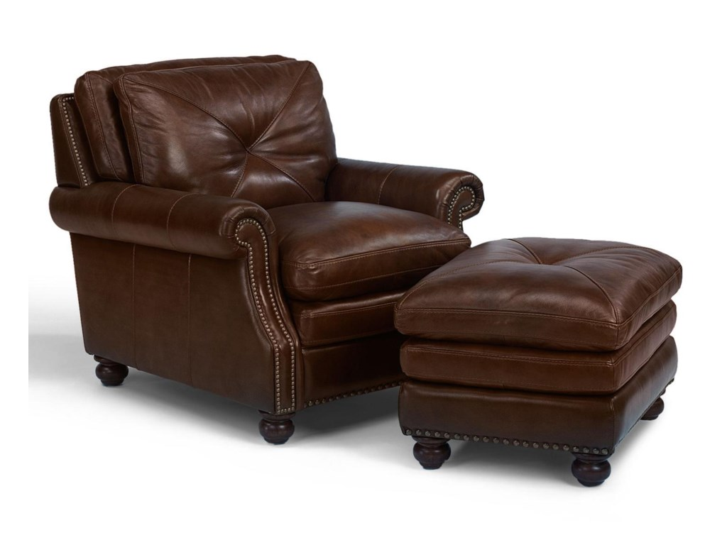 Flexsteel Latitudes-SuffolkLeather Chair and Ottoman Combination