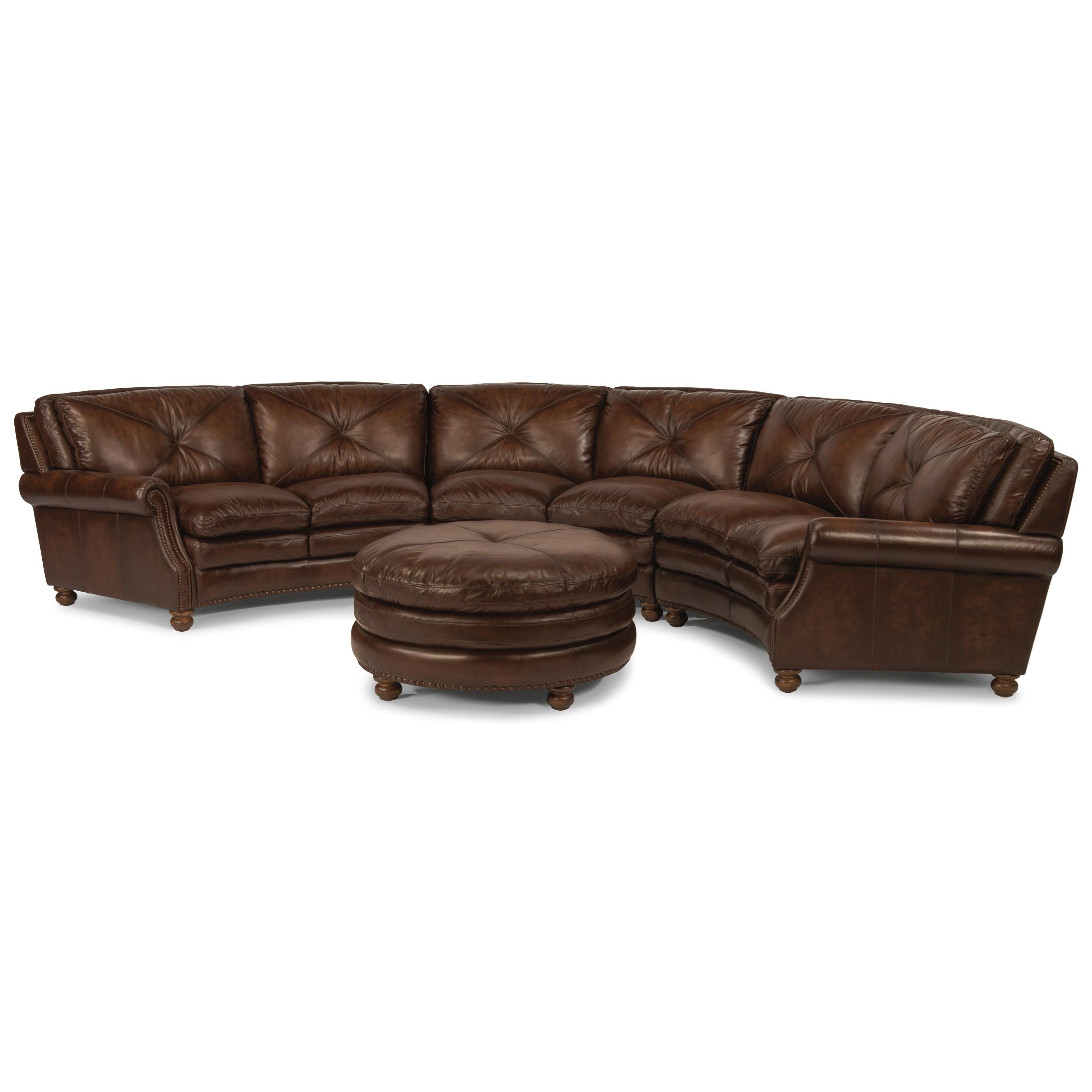 Flexsteel Latitudes Suffolk Round Sectional Sofa With Nailhead Trim