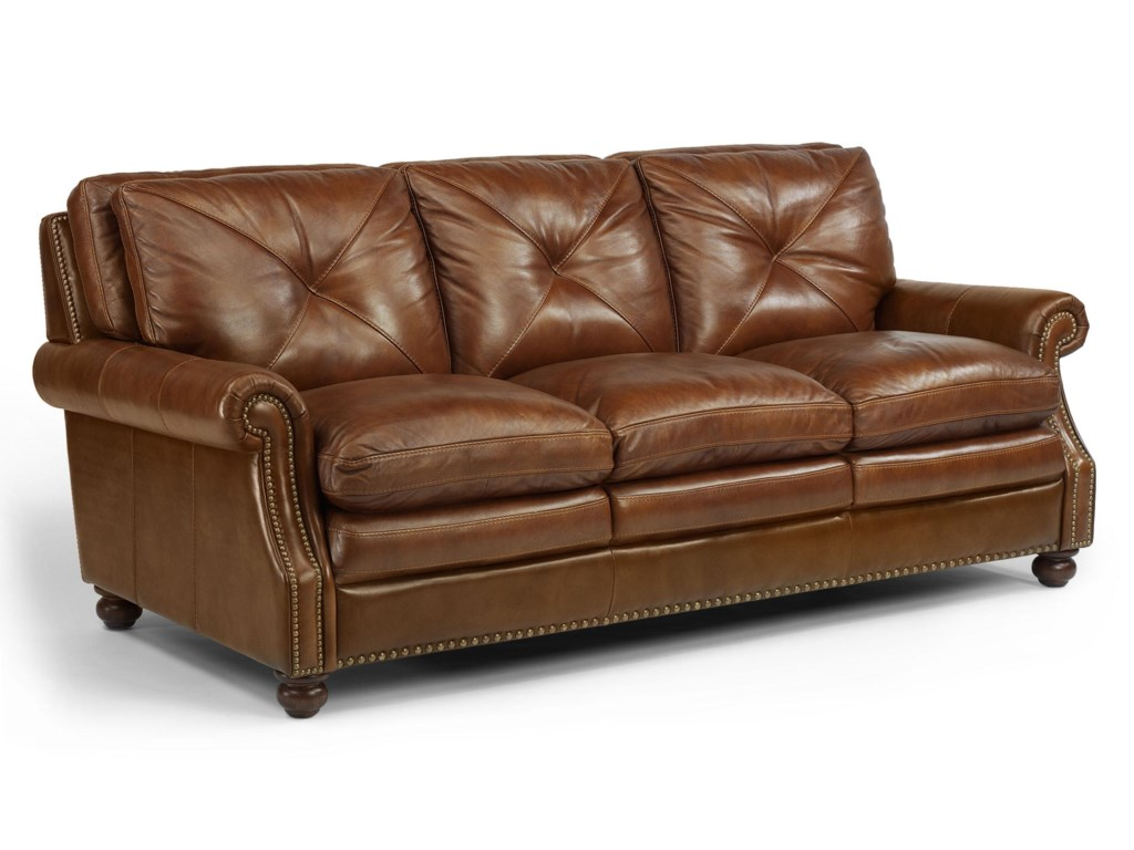 Flexsteel Austin 1741-31 Leather Stationary Sofa with Nailhead Trim ...
