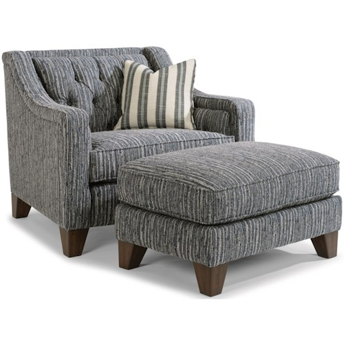 Flexsteel Sullivan Contemporary Chair and Ottoman Set with Tufted Back
