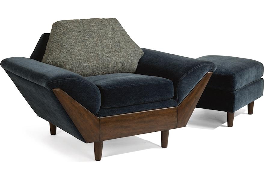 Striking Danish Mid Century Modern Teak And Cane Lounge Chair