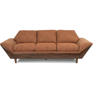 Flexsteel Thunderbird Mid Century Modern Sofa With Flare Tapered Arms Furniture Superstore Rochester Mn Sofas
