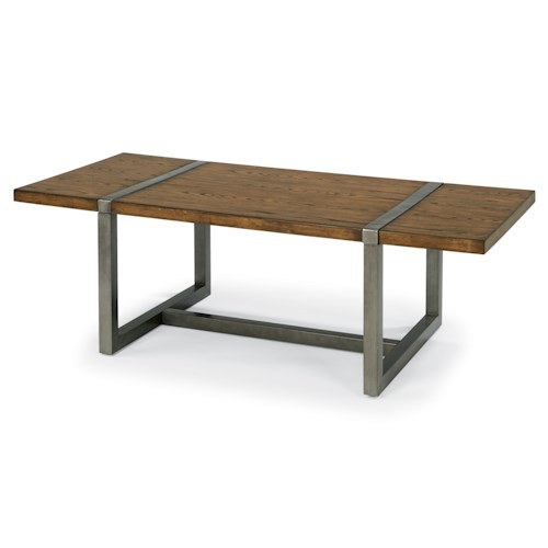 Flexsteel Trestle Rustic Rectangle Cocktail Table with Aged Gunmetal Base