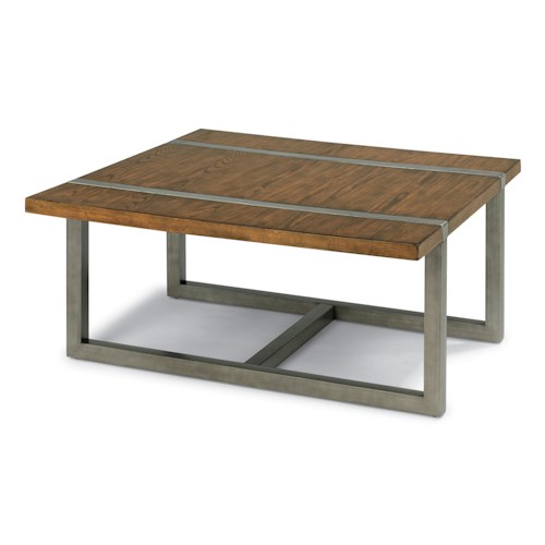 Flexsteel Trestle Rustic Square Cocktail Table with Aged Gunmetal Base