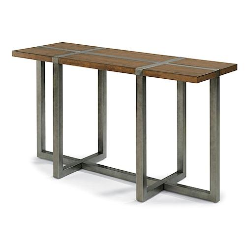Flexsteel Trestle Rustic Sofa Table with Aged Gunmetal Base
