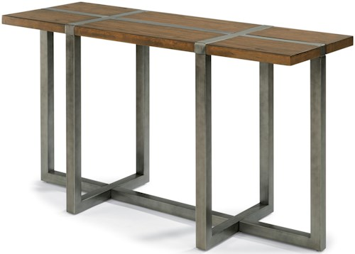 Flexsteel Trestle Rustic Sofa Table with Aged Gunmetal Base