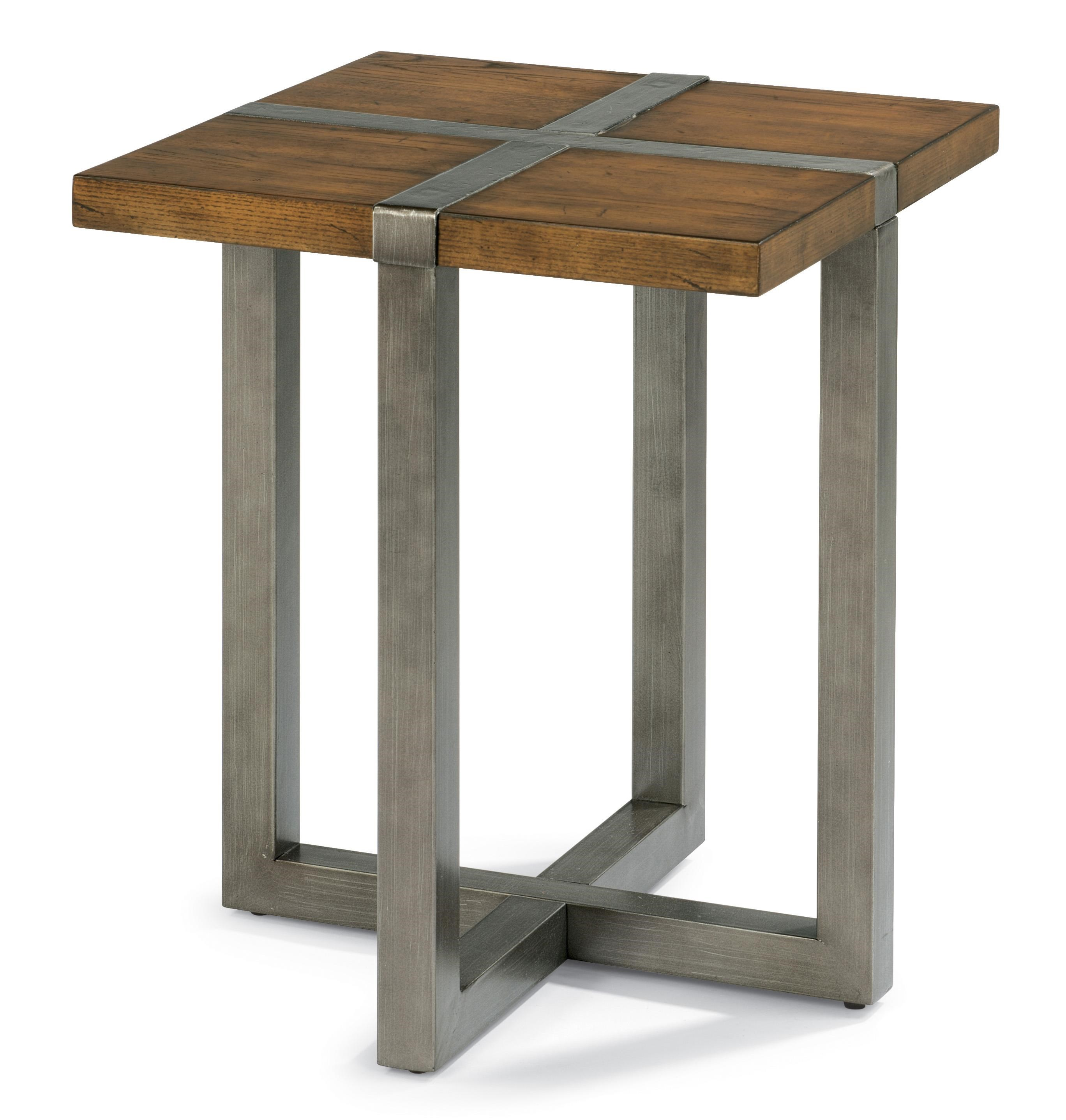 Flexsteel Trestle Rustic Chair Side Table With Aged Gunmetal Base