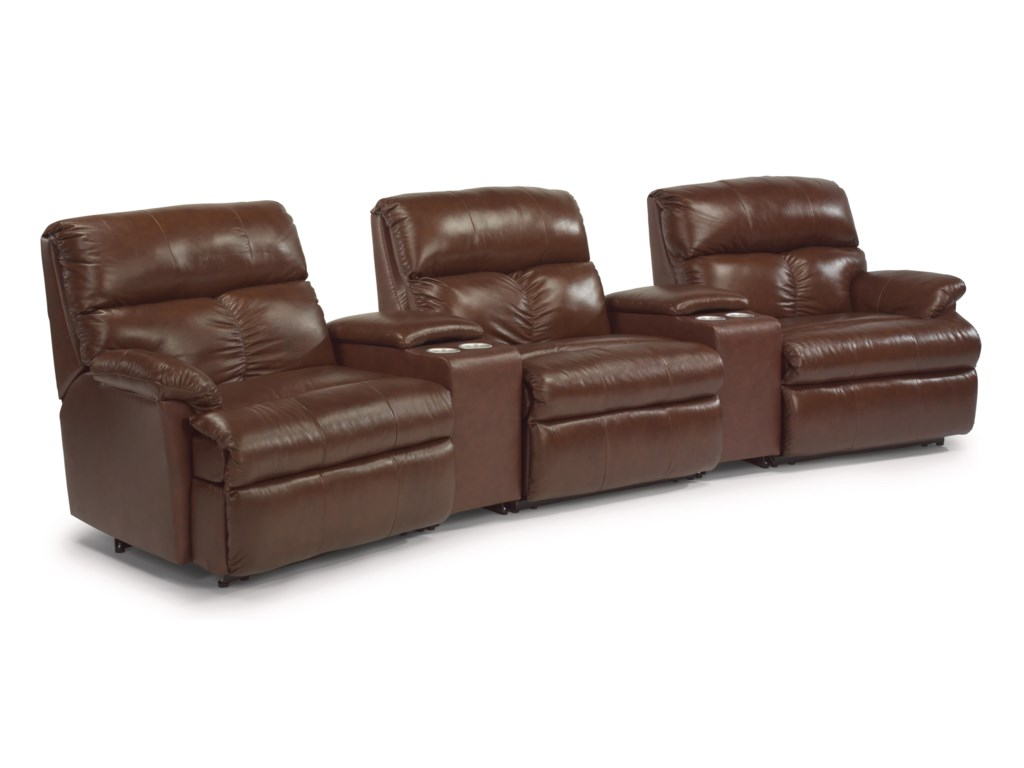 Flexsteel Triton Five Piece Power Reclining Home Theater Group With