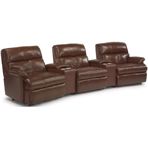 Flexsteel Triton  Five Piece Power Reclining Home Theater Group with Storage and Cupholder Consoles