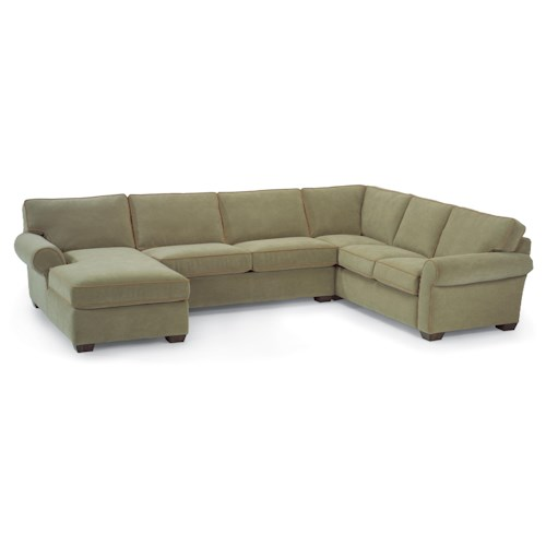 Flexsteel Vail Stationary Sectional Sofa with Left-Side Chaise