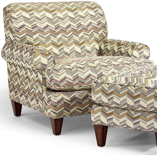 Flexsteel Venture Transitional Chair with Rolled Arms and Tapered Legs