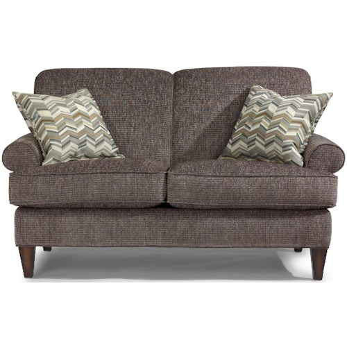 Flexsteel Venture Transitional Loveseat with Rolled Arms and Tapered Legs