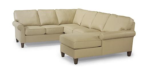 Flexsteel Westside Casual Corner Sectional Leather Upholstered Sofa