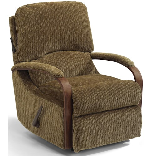 Flexsteel Woodlawn Exposed Wood Recliner with Power