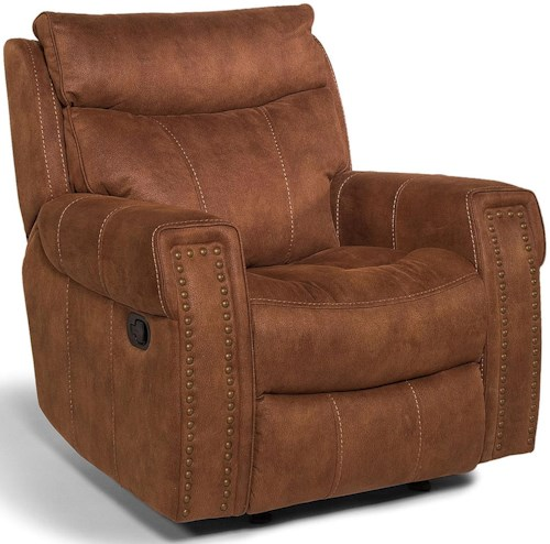 Flexsteel Latitudes - Wyatt - -660344646 Transitional Glider Recliner with Key Arms and Nailhead Trim